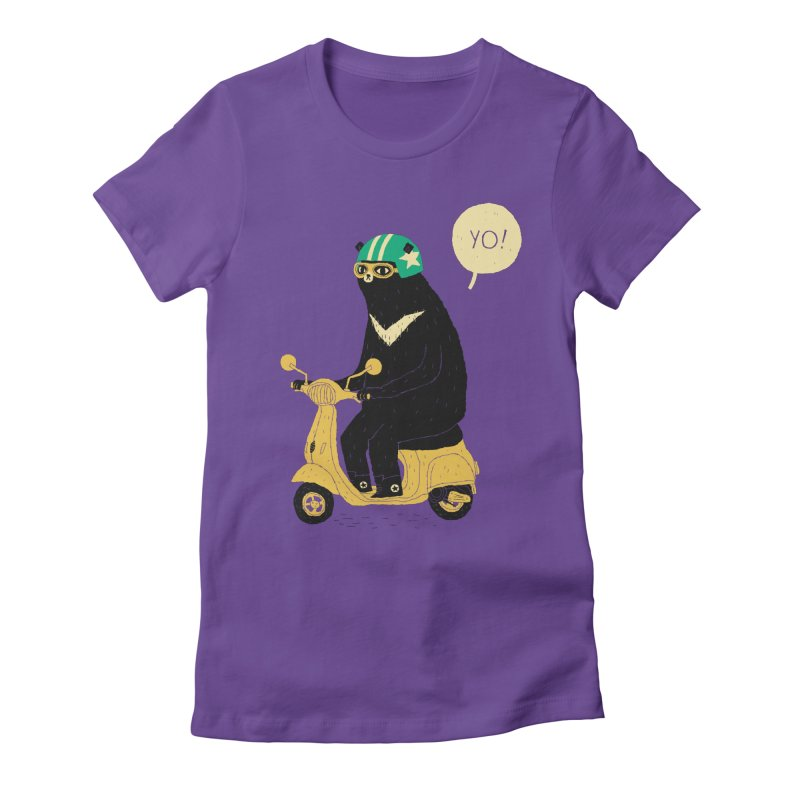 scooter bear Women's Fitted T-Shirt by louisros's Artist Shop