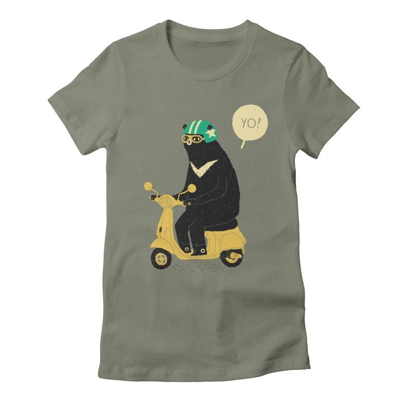scooter bear Women's Fitted T-Shirt by louisros's Artist Shop