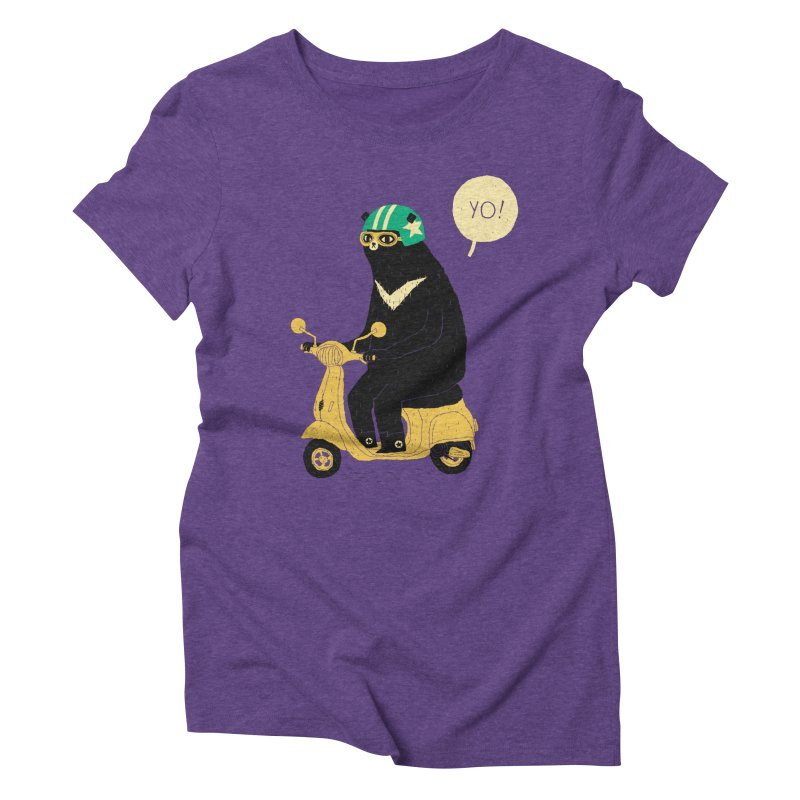scooter bear Women's Triblend T-shirt by louisros's Artist Shop