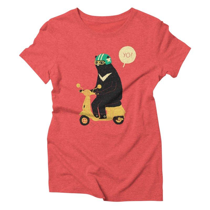 scooter bear Women's Triblend T-shirt by louisros's Artist Shop