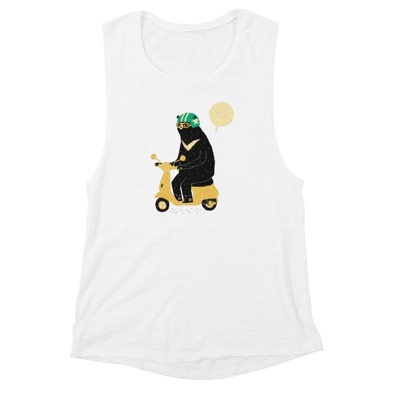 scooter bear Women's Muscle Tank by louisros's Artist Shop