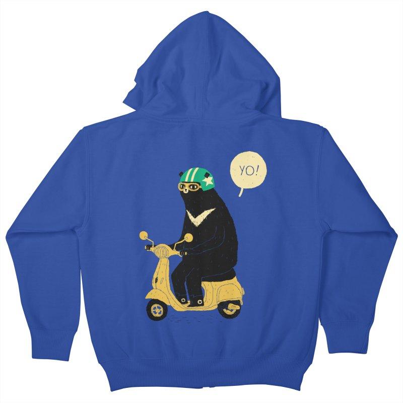 scooter bear Kids Zip-Up Hoody by louisros's Artist Shop