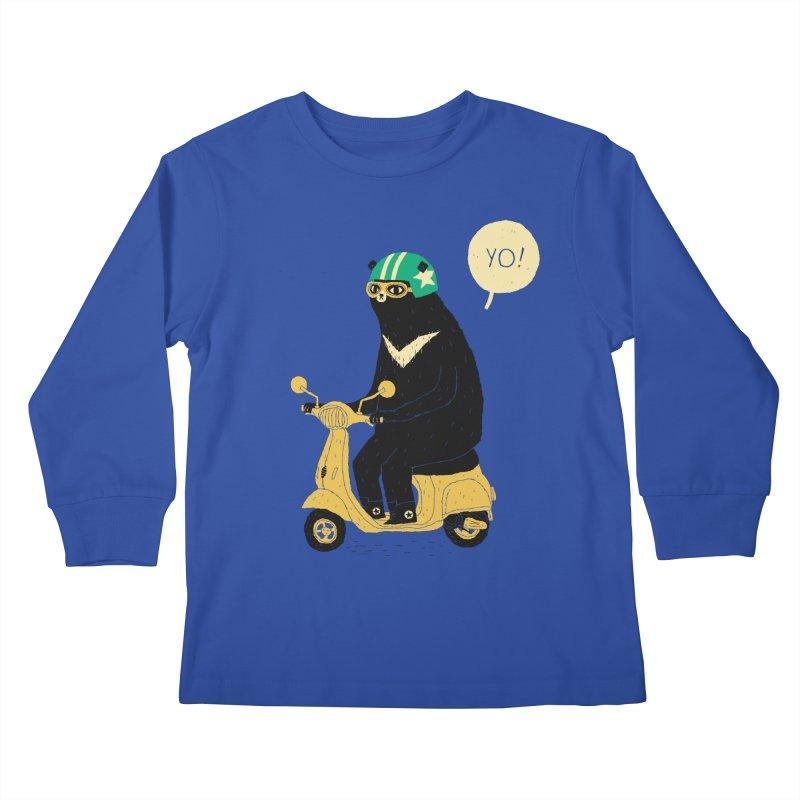 scooter bear Kids Longsleeve T-Shirt by louisros's Artist Shop