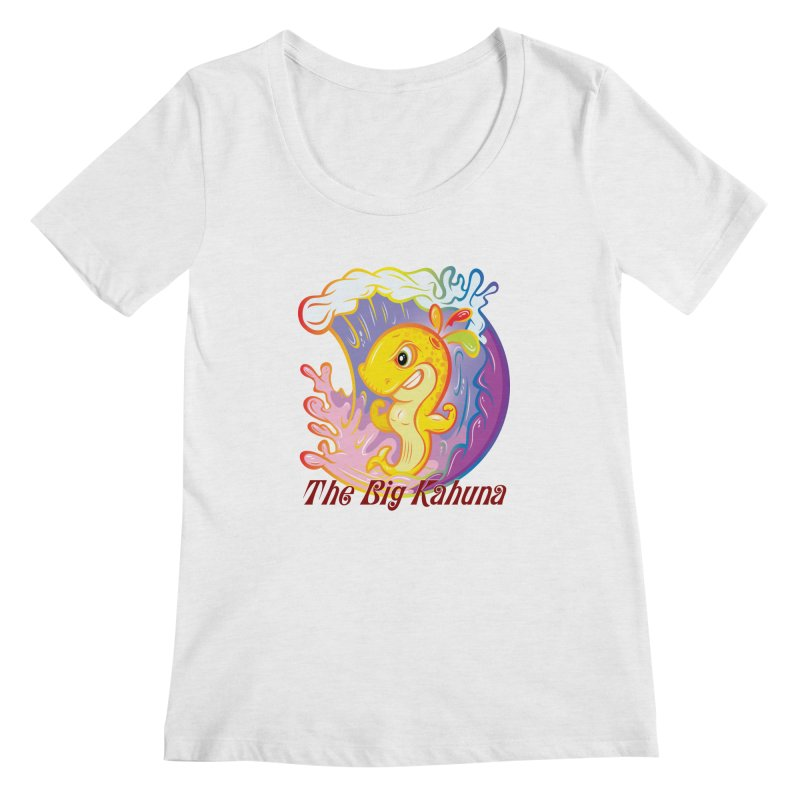 The Big Kahuna Women's Scoopneck by Samalou - The Art and Illustrations of Lou Simeone