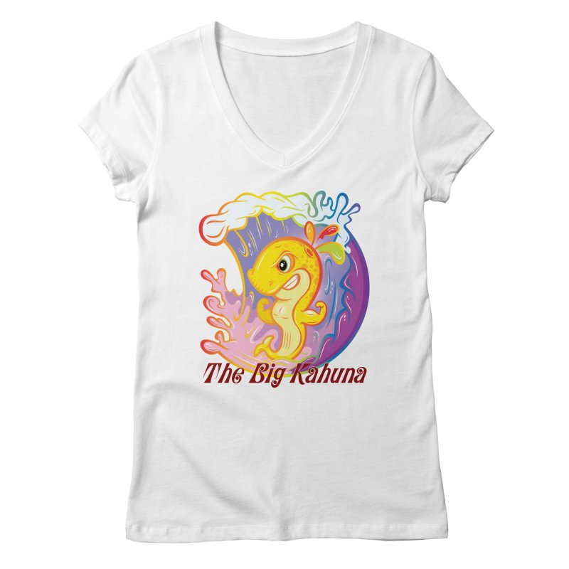 The Big Kahuna Women's V-Neck by Samalou - The Art and Illustrations of Lou Simeone