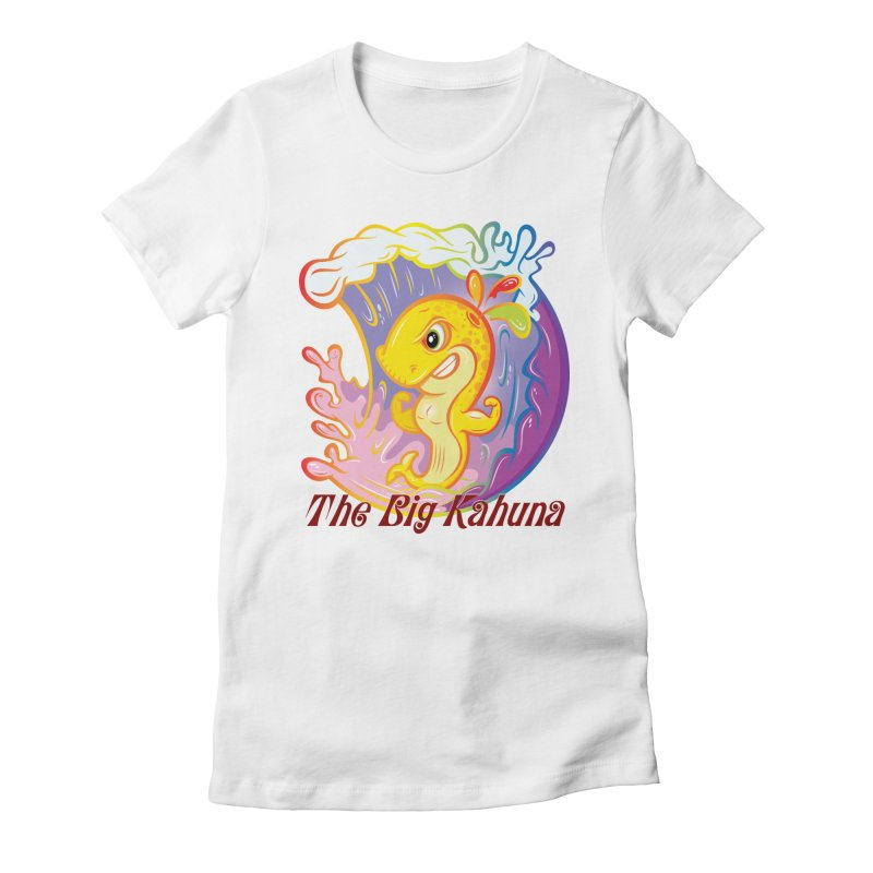 The Big Kahuna Women's Fitted T-Shirt by Samalou - The Art and Illustrations of Lou Simeone