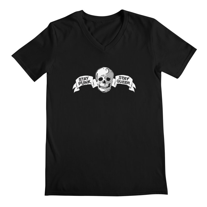 Stay Punk.  Stay Queer. Men's Regular V-Neck by Punk Rock Girls Like Us