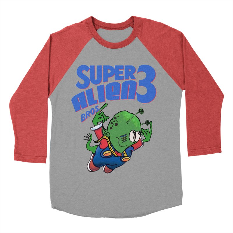 Super Alien Bros. 3 in Men's Baseball Triblend Longsleeve T-Shirt Chili Red Sleeves by loveandnate's Artist Shop