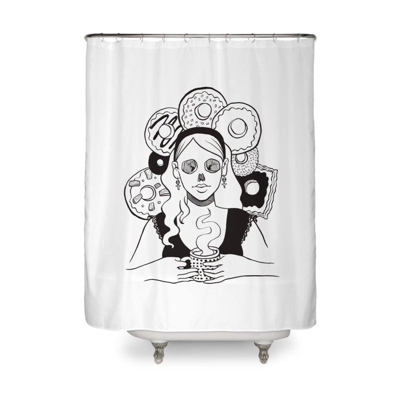 Death 'n' Donuts Home Shower Curtain by Melisa Des Rosiers Artist Shop