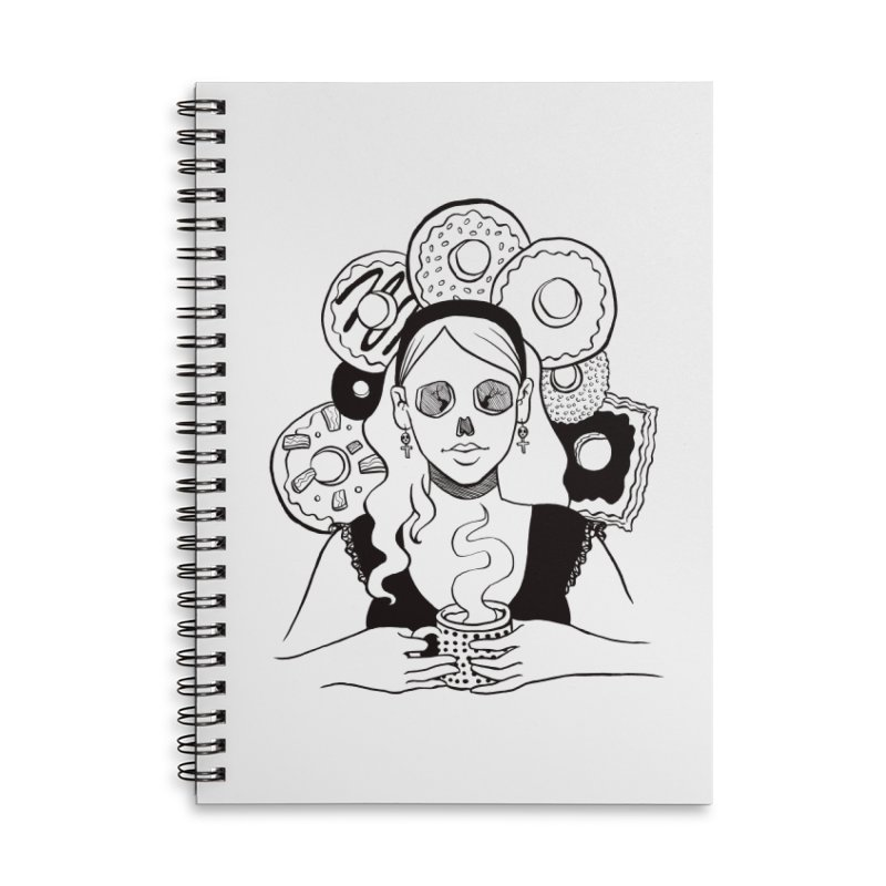 Death 'n' Donuts Accessories Lined Spiral Notebook by Melisa Des Rosiers Artist Shop