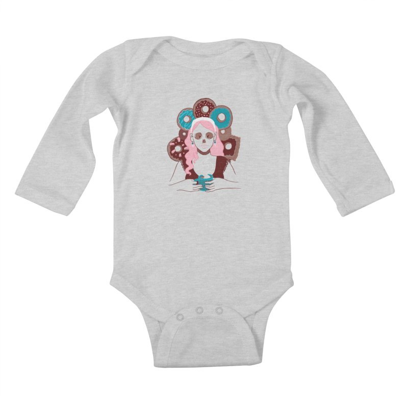Death 'n' Donuts Color Kids Baby Longsleeve Bodysuit by Love for Ink Artist Shop