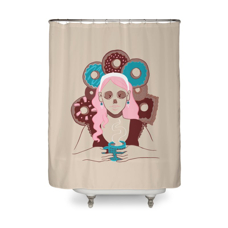 Death 'n' Donuts Color Home Shower Curtain by Love for Ink Artist Shop