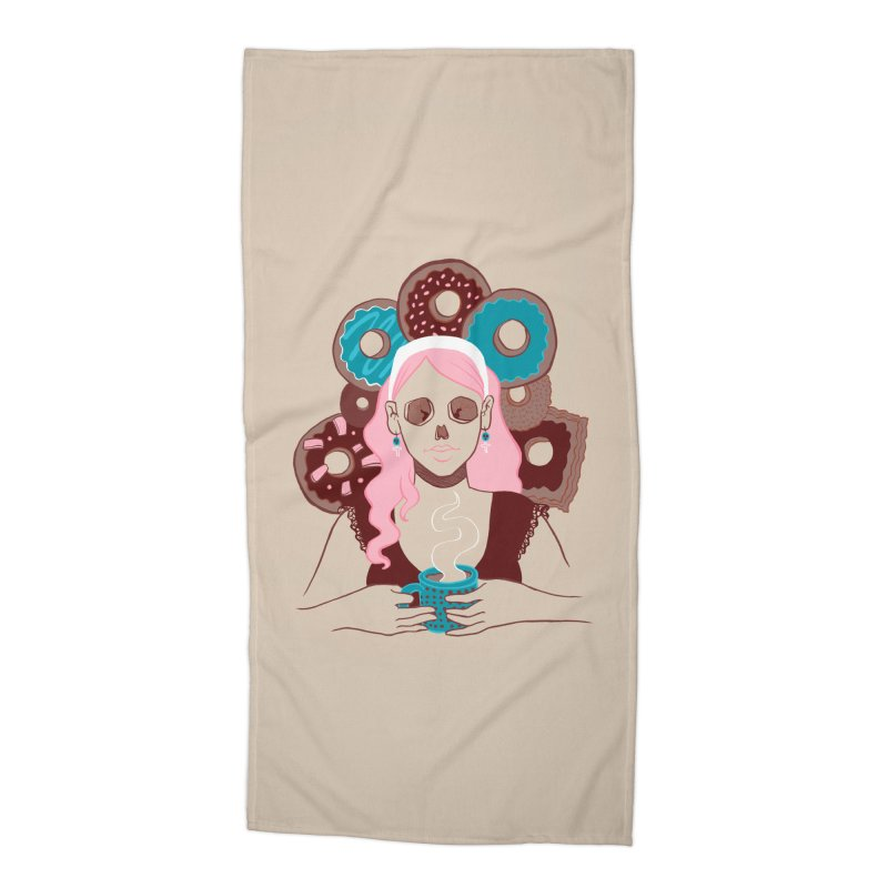 Death 'n' Donuts Color Accessories Beach Towel by Love for Ink Artist Shop