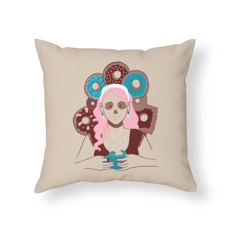 Death 'n' Donuts Color Home Throw Pillow by Love for Ink Artist Shop