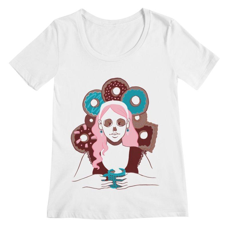 Death 'n' Donuts Color Women's Regular Scoop Neck by Melisa Des Rosiers Artist Shop