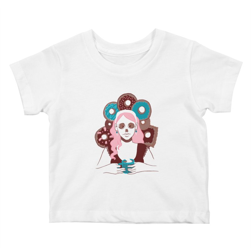 Death 'n' Donuts Color Kids Baby T-Shirt by Melisa Des Rosiers Artist Shop