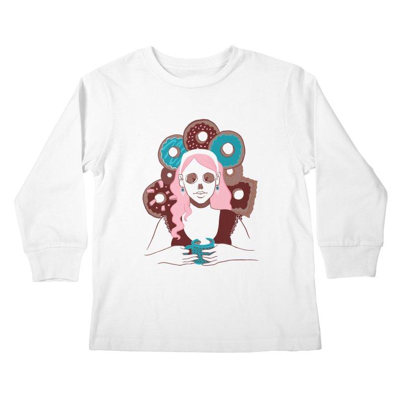 Death 'n' Donuts Color Kids Longsleeve T-Shirt by Melisa Des Rosiers Artist Shop