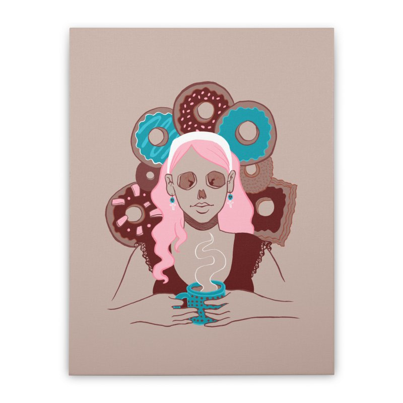 Death 'n' Donuts Color Home Stretched Canvas by Melisa Des Rosiers Artist Shop