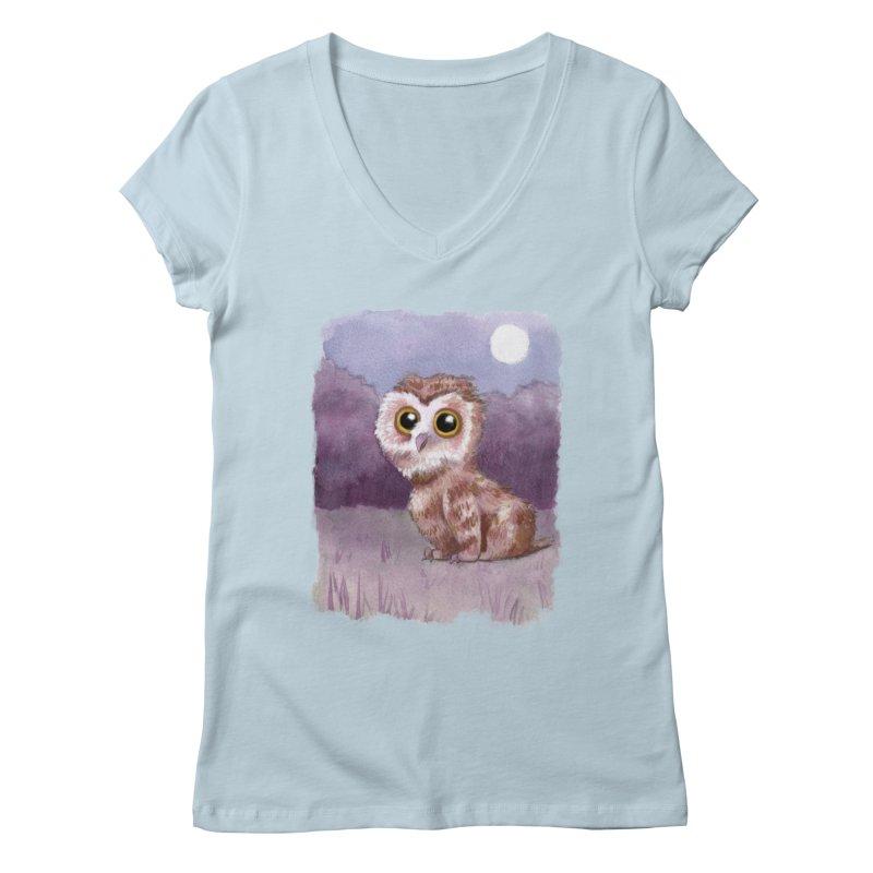 Owlbear Baby Women's Regular V-Neck by Melisa Des Rosiers Artist Shop