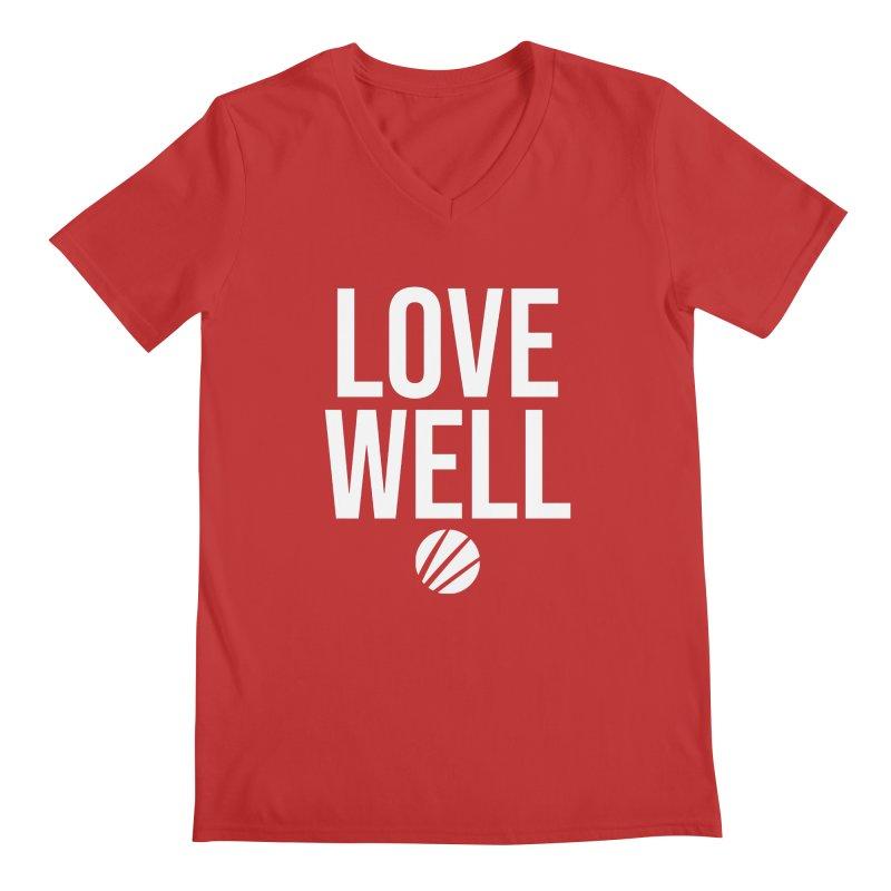 Lovewell Message (White Text) Men's Regular V-Neck by Love Well's Artist Shop