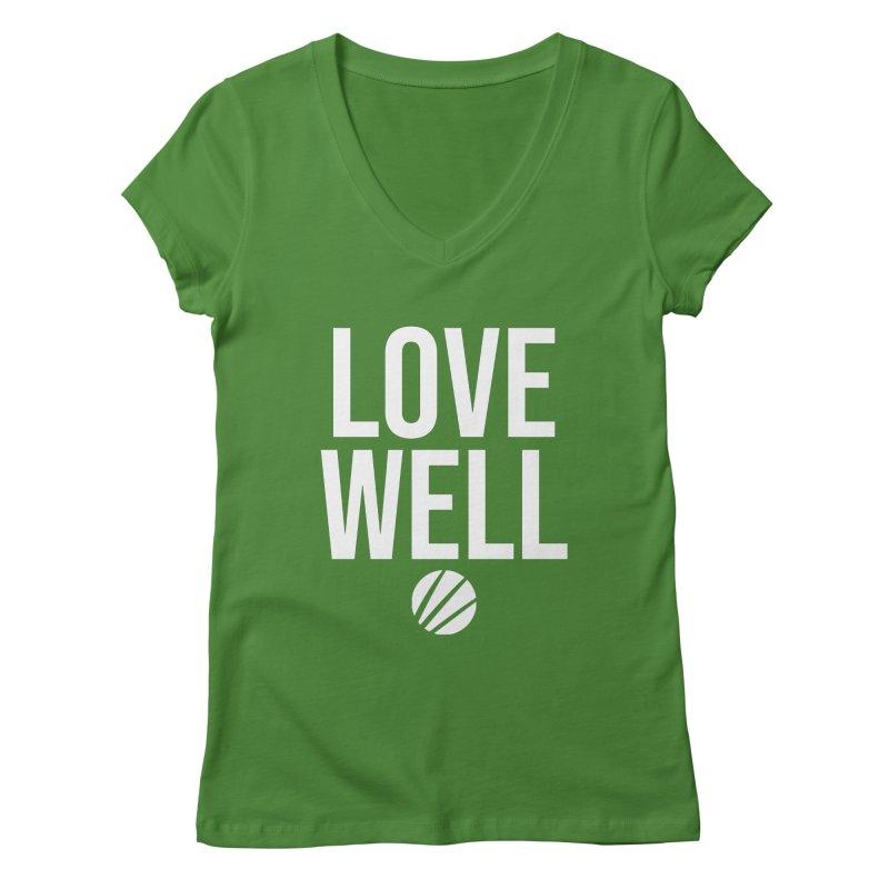 Lovewell Message (White Text) Women's Regular V-Neck by Love Well's Artist Shop