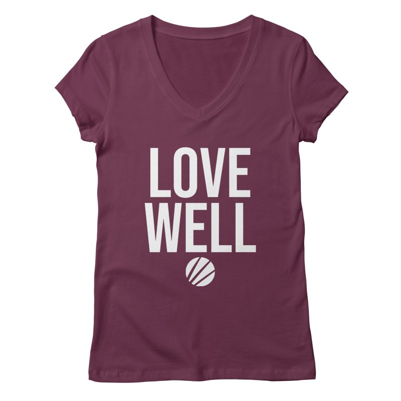 Lovewell Message (White Text) Women's V-Neck by Lovewell's Artist Shop