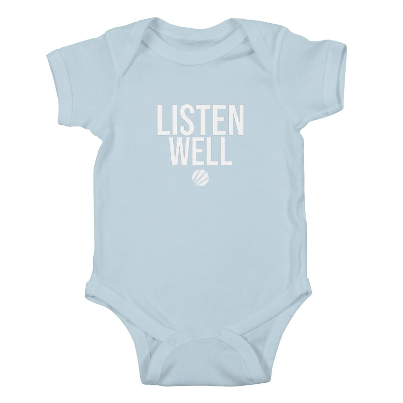 Listenwell Message (White Text) Kids Baby Bodysuit by Lovewell's Artist Shop