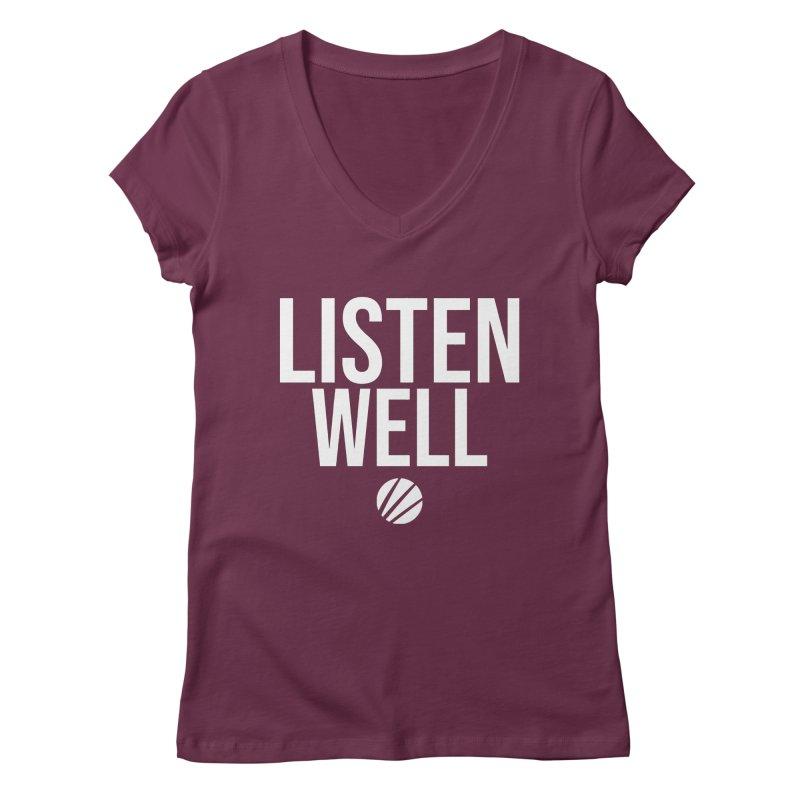 Listenwell Message (White Text) Women's Regular V-Neck by Lovewell's Artist Shop