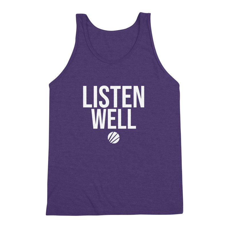 Listenwell Message (White Text) Men's Triblend Tank by Lovewell's Artist Shop