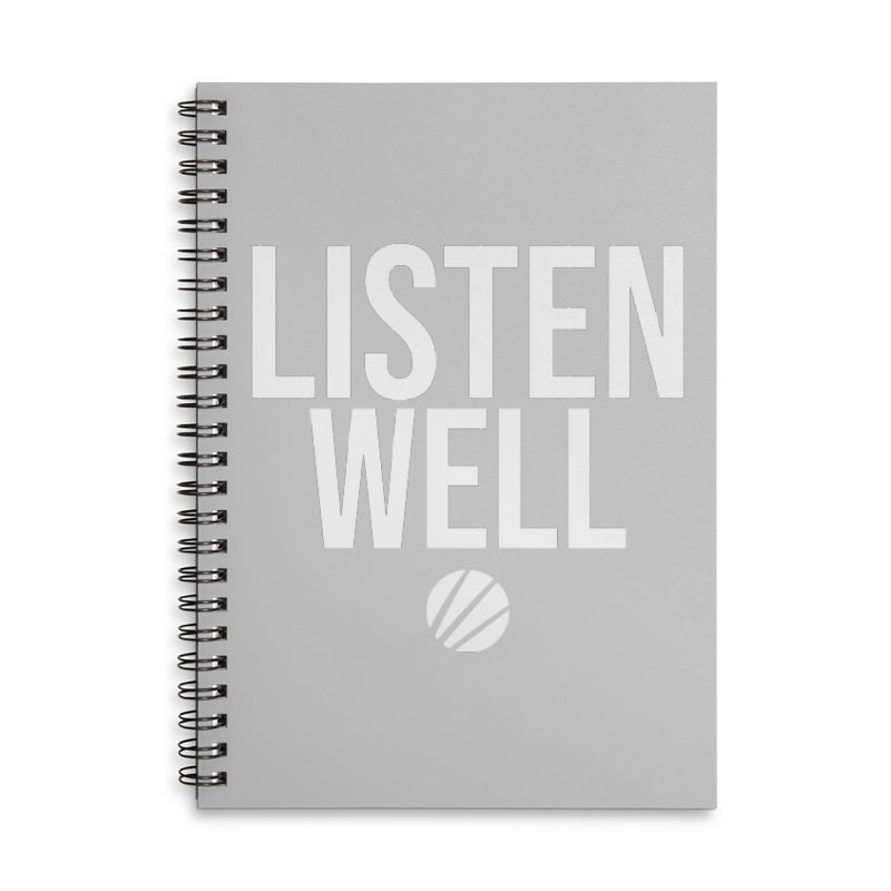Listenwell Message (White Text) Accessories Lined Spiral Notebook by Love Well's Artist Shop