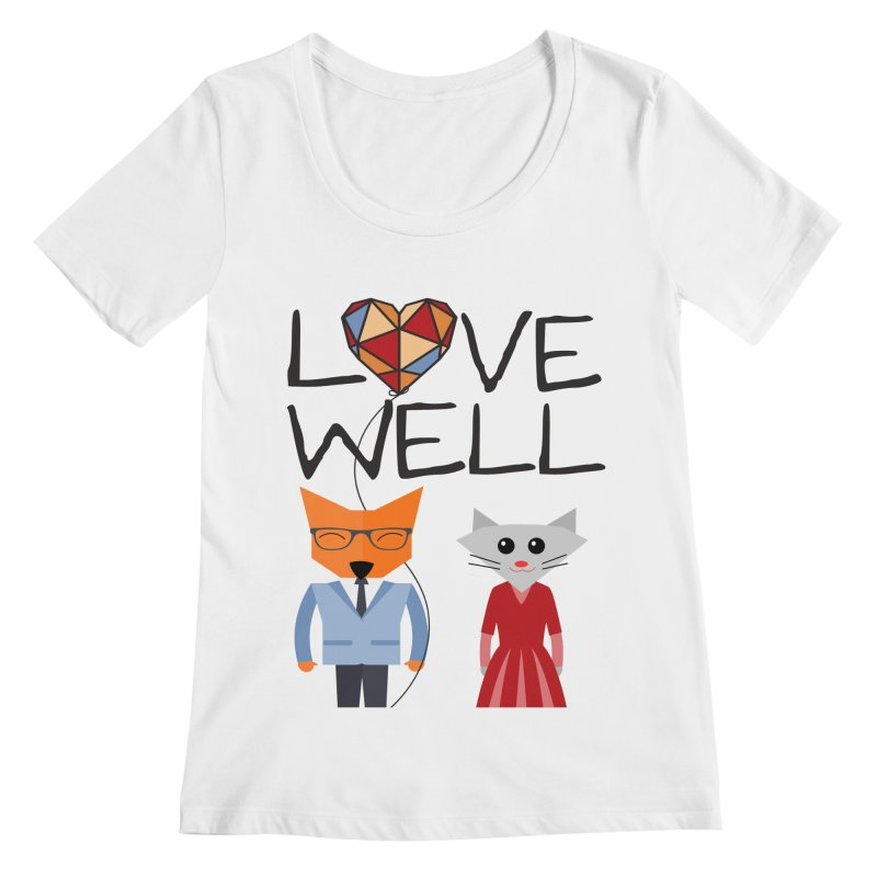 Foxy Lovewell Cat (by Tobi Waldron) Women's Regular Scoop Neck by Lovewell's Artist Shop