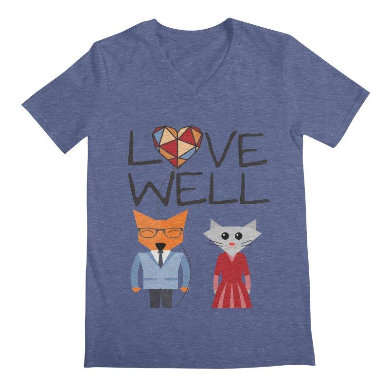 Foxy Lovewell Cat (by Tobi Waldron) Men's Regular V-Neck by Love Well's Artist Shop