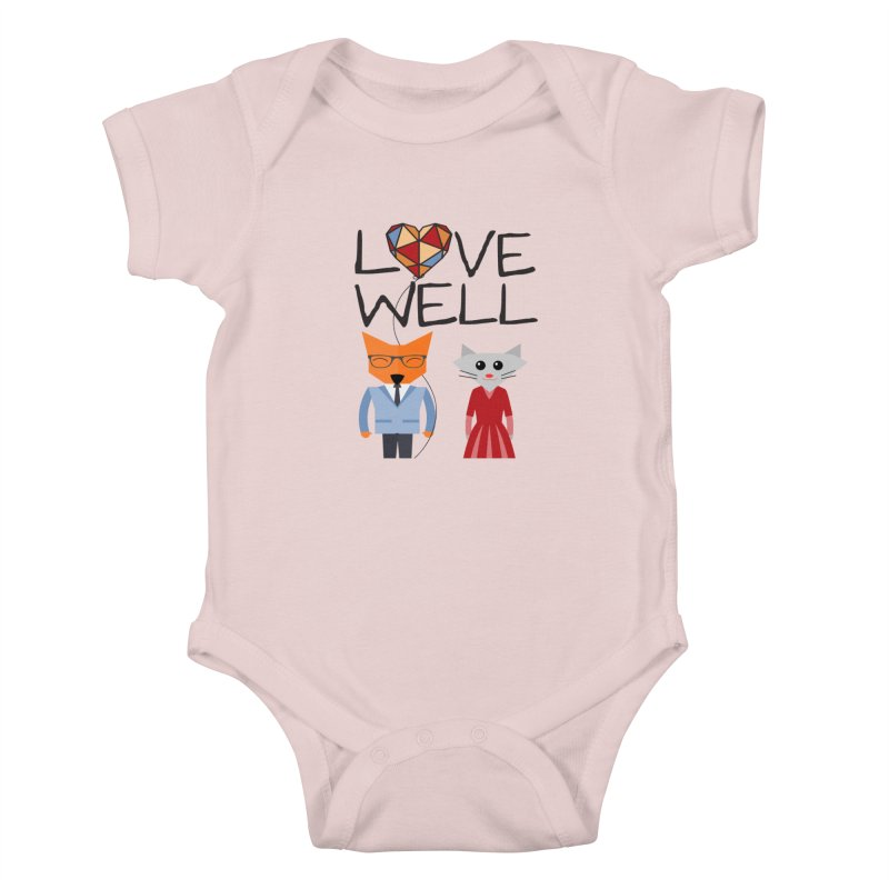 Foxy Lovewell Cat (by Tobi Waldron) Kids Baby Bodysuit by Love Well's Artist Shop