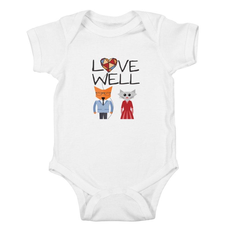 Foxy Lovewell Cat (by Tobi Waldron) Kids Baby Bodysuit by Love Well's Artist Shop