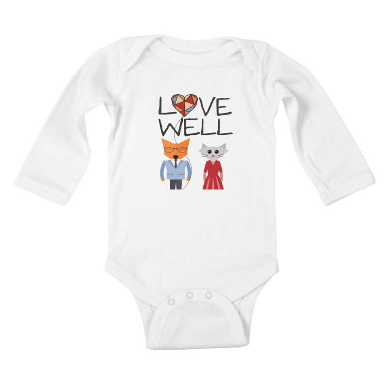 Foxy Lovewell Cat (by Tobi Waldron) Kids Baby Longsleeve Bodysuit by Lovewell's Artist Shop