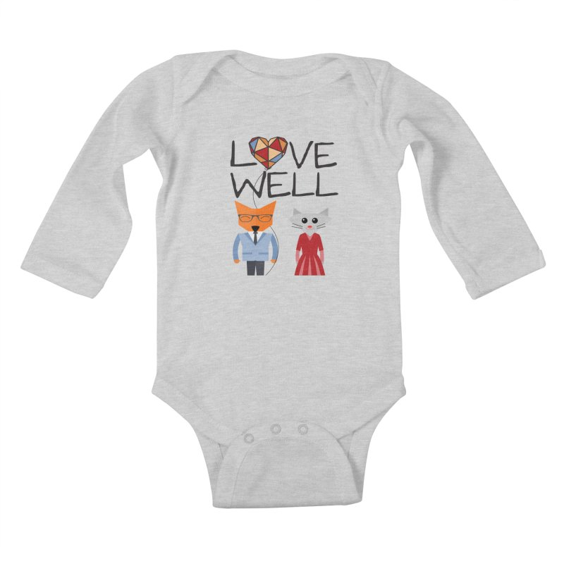 Foxy Lovewell Cat (by Tobi Waldron) Kids Baby Longsleeve Bodysuit by Love Well's Artist Shop