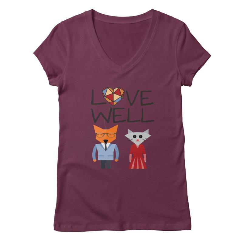 Foxy Lovewell Cat (by Tobi Waldron) Women's V-Neck by Love Well's Artist Shop