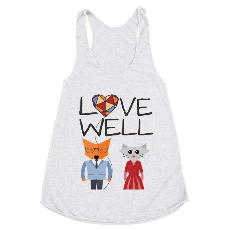 Foxy Lovewell Cat (by Tobi Waldron) Women's Racerback Triblend Tank by Love Well's Artist Shop