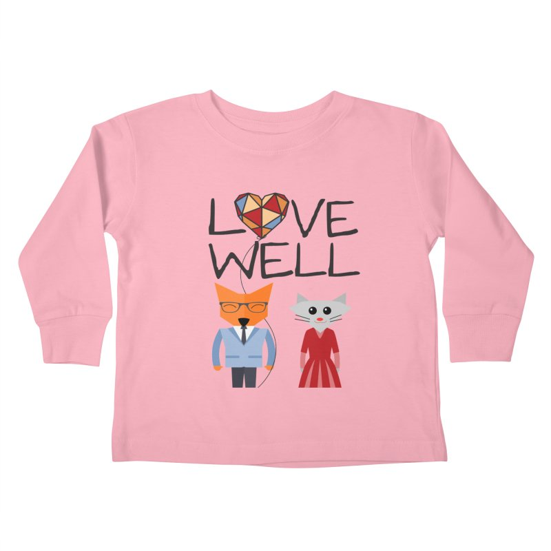 Foxy Lovewell Cat (by Tobi Waldron) Kids Toddler Longsleeve T-Shirt by Love Well's Artist Shop