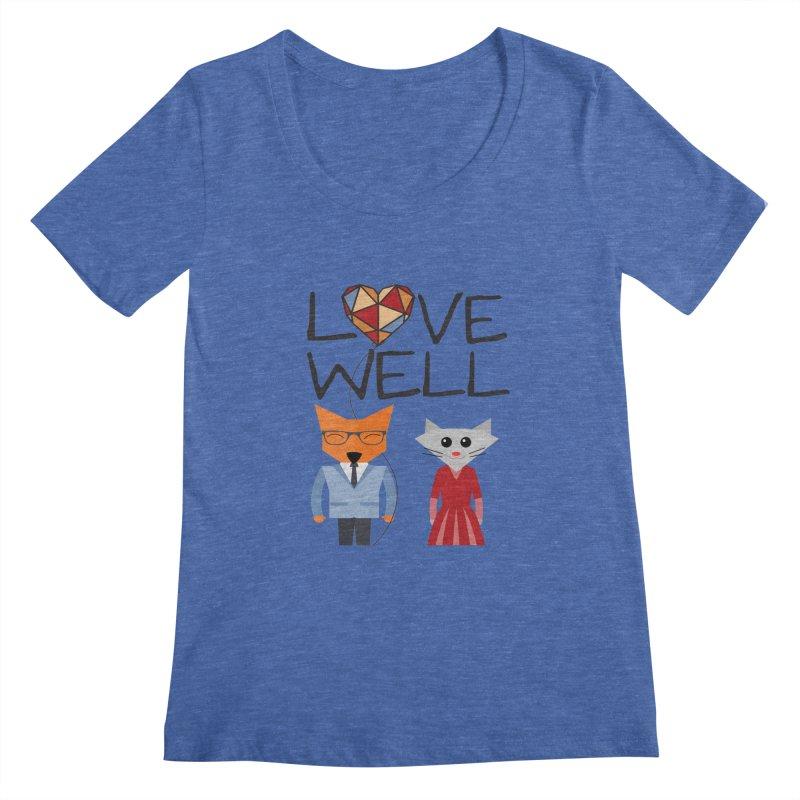 Foxy Lovewell Cat (by Tobi Waldron) Women's Regular Scoop Neck by Love Well's Artist Shop