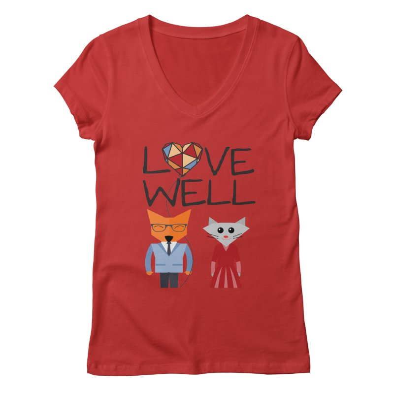 Foxy Lovewell Cat (by Tobi Waldron) Women's V-Neck by Lovewell's Artist Shop