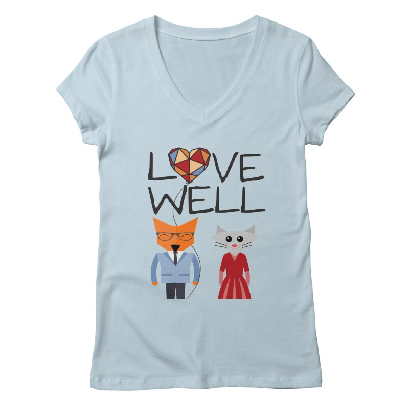 Foxy Lovewell Cat (by Tobi Waldron) Women's V-Neck by Love Well's Artist Shop