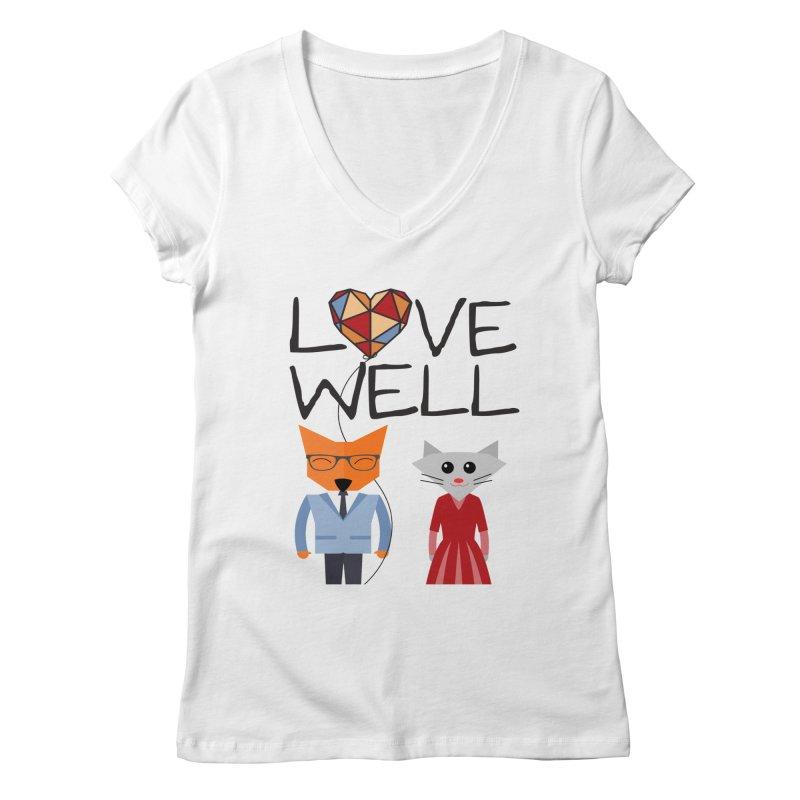 Foxy Lovewell Cat (by Tobi Waldron) Women's Regular V-Neck by Love Well's Artist Shop