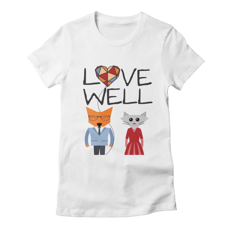 Foxy Lovewell Cat (by Tobi Waldron) Women's Fitted T-Shirt by Love Well's Artist Shop