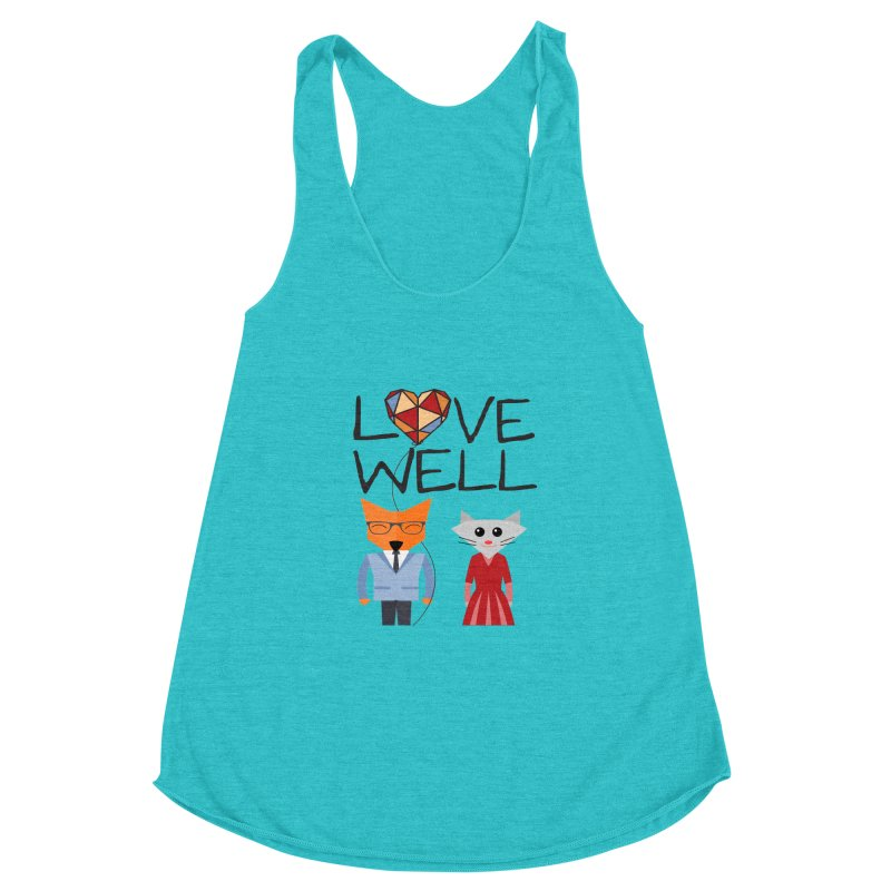 Foxy Lovewell Cat (by Tobi Waldron) Women's Racerback Triblend Tank by Lovewell's Artist Shop