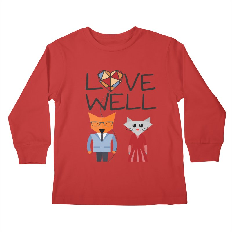 Foxy Lovewell Cat (by Tobi Waldron) Kids Longsleeve T-Shirt by Lovewell's Artist Shop