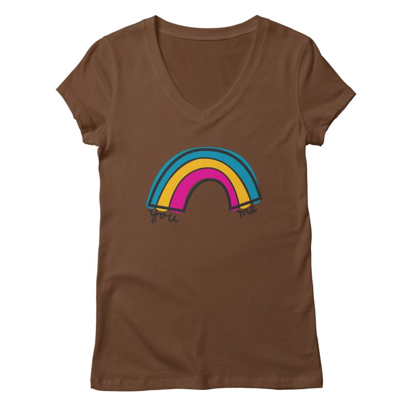 You Me Rainbow Women's Regular V-Neck by \\ LOVING RO<3OT .boop.boop.