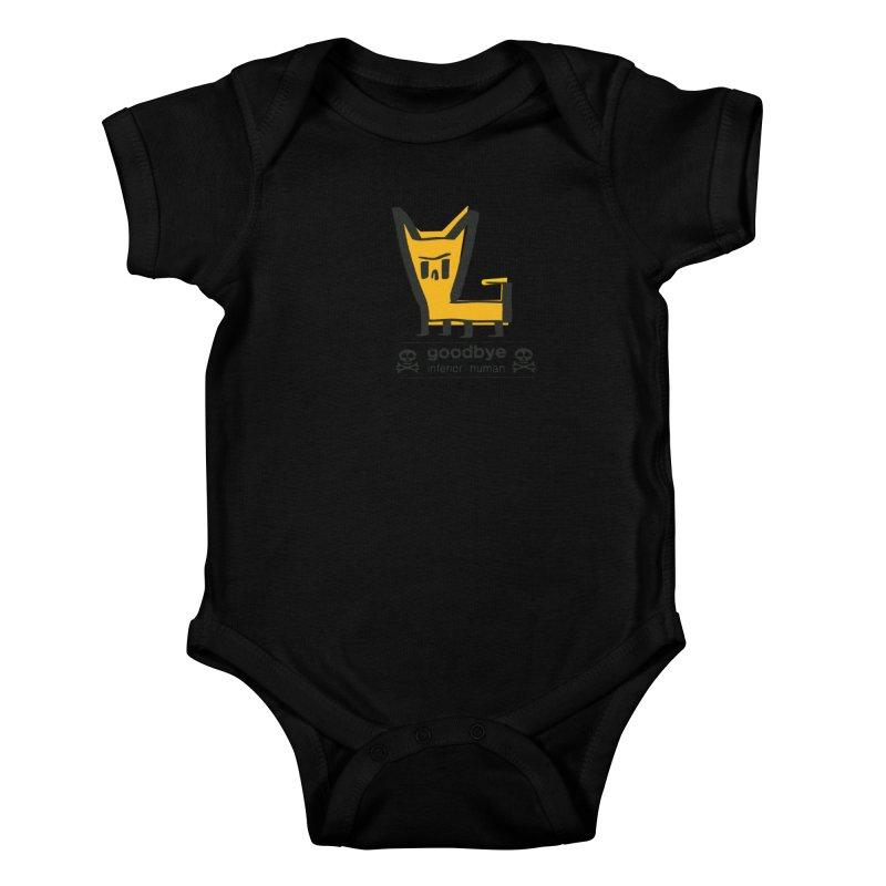 goodbye, inferior human (two color) Kids Baby Bodysuit by \\ LOVING RO<3OT .boop.boop.
