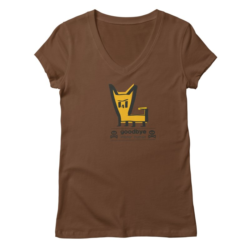 goodbye, inferior human (two color) Women's Regular V-Neck by \\ LOVING RO<3OT .boop.boop.