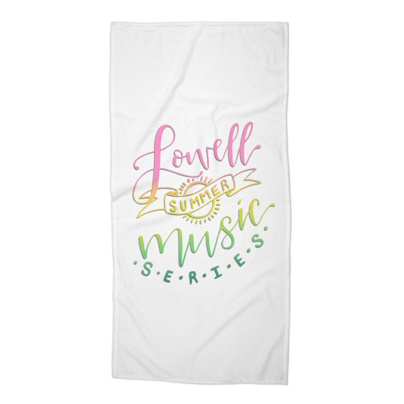 Script Rainbow Accessories Beach Towel by lowellsummermusic's Artist Shop